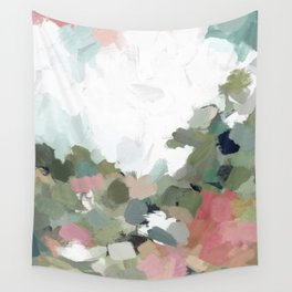 Green Mint Pink Blush Abstract Nature Art Painting Wall Tapestry