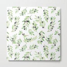 Olive Branch Repeat Print Metal Print