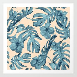 Island Vacay Hibiscus Palm Pale Coral Teal Blue Art Print
