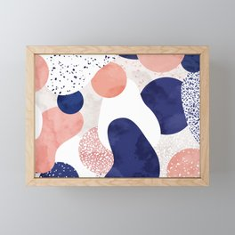 Terrazzo galaxy pink blue white Framed Mini Art Print