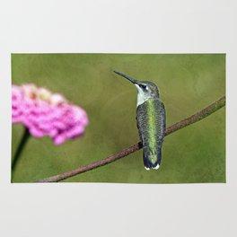 Hummingbird and Zinnia Rug