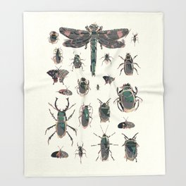 Collection of Insects Throw Blanket