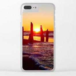 Stunning sunset through the sticks Clear iPhone Case