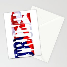 "The word ""Trump"" ie President Trump with the American Flag from Fort McHenry overlayed. Stationery Cards"