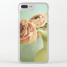 Peach Flowers on Mint Clear iPhone Case