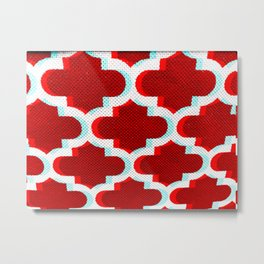 3 D Red Club Pattern Metal Print