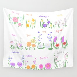 Birthday Month Flowers Wall Tapestry