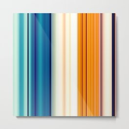 blue pink orange turquoise striped pattern Metal Print