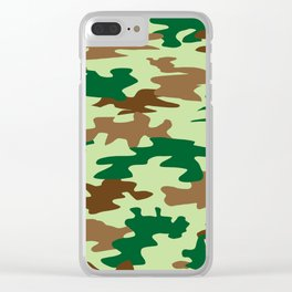 Camouflage Print Pattern - Greens & Browns Clear iPhone Case