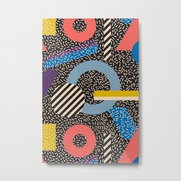 Memphis Inspired Pattern 4 Metal Print