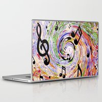 music notes Laptop & iPad Skins featuring Music Notes by gretzky