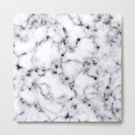 Modern Black White Designer Marble Pattern Metal Print