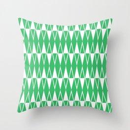 Mid Century Modern Diamond Pattern Green 234 Throw Pillow