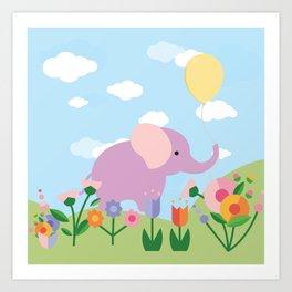 Purple Elephant and Balloons, nursery decor , Art Print