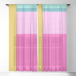 Geometric Bauhaus Style Color Block in Bright Colors Sheer Curtain