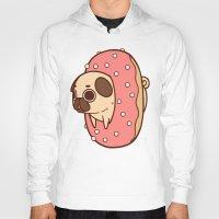 doughnut Hoodies featuring Puglie Doughnut by Puglie Pug
