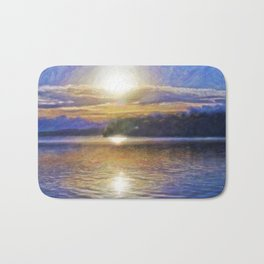Sun Rising Over Lake - Art Edit Bath Mat