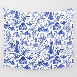 Arabian Nights // China Blue Wall Tapestry