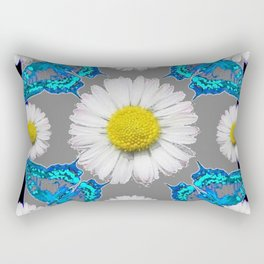 Blue Moths White Daisies Black Grey Art Rectangular Pillow
