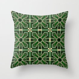 Art Deco Floral Tiles in Emerald Green and Faux Gold Throw Pillow