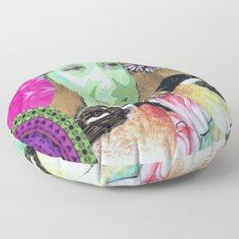 Woman portrait bird butterfly Floor Pillow