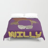 roald dahl Duvet Covers featuring Willy Wonka and you by Ally Simmons