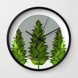 three green trees Wall Clock