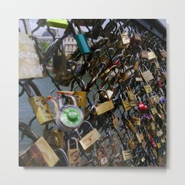 Love padlocks on Pont des Arts, Paris Metal Print