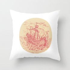 Tall Ship Sailing Stormy Sea Oval Drawing Throw Pillow