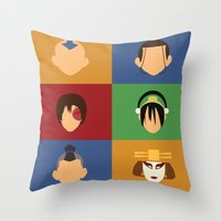 zuko Throw Pillows featuring Team Avatar by Adrian Mentus