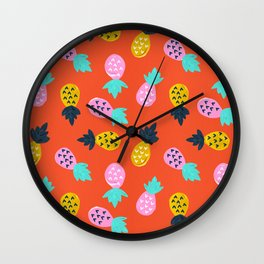 Pineapple Party – Red & Pink Palette Wall Clock