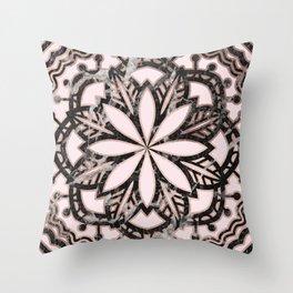 Marble mandala - striking black and rose gold Throw Pillow