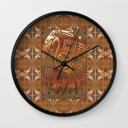 Mexicano Chrome Tribal Art Wall Clock