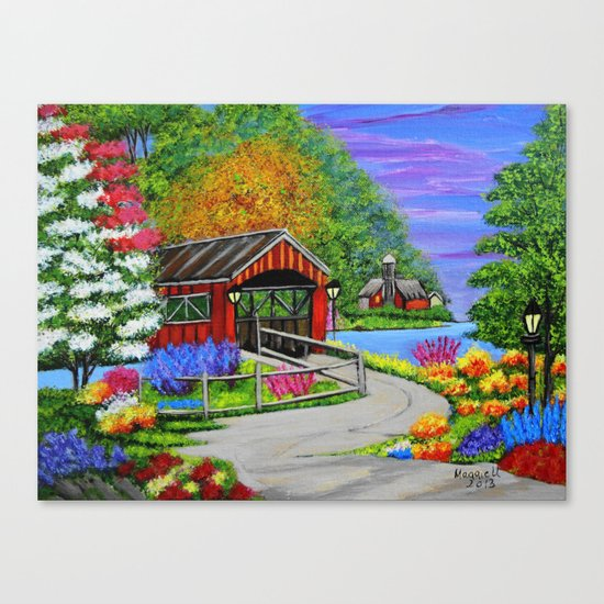 Covered bridge to town  Canvas Print