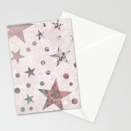 Pink Patchwork Stars Stationery Cards