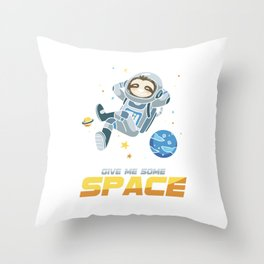 Give Some Space Funny Sleepy Sloths Forest Nature Wildlife Animals Galactic Galaxy Gift Throw Pillow