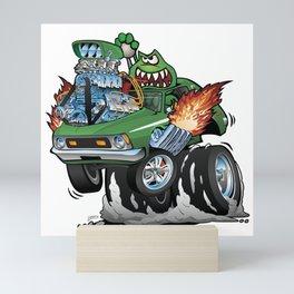 Seventies Green Hot Rod Funny Car Cartoon Mini Art Print