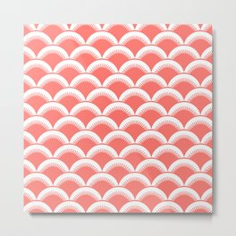 Japanese Fan Pattern 136 Coral Metal Print