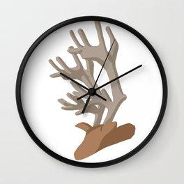 Deer bending with Antlers in brown Wall Clock