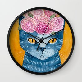 Frida Catlo in Blue Wall Clock