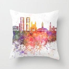 Casablanca skyline in watercolor background Throw Pillow