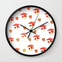 Mushrooms and Acorns Wall Clock