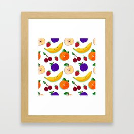 happy fruits and berries Framed Art Print