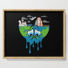 Climate Change Planet Future Earth CO2 Gift Idea Serving Tray