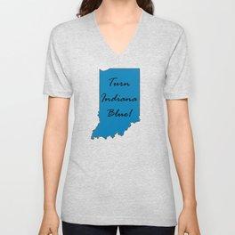Turn Indiana Blue! Proud Vote Democrat Liberal! 2018 Midterms Unisex V-Neck
