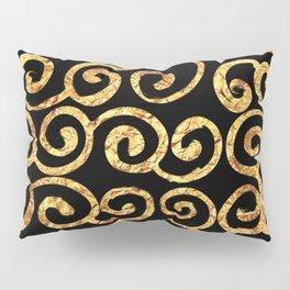 Gold Swirls on Black Background Pillow Sham