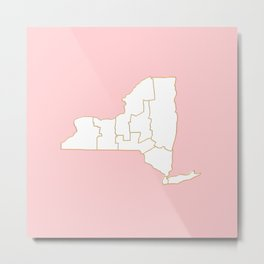 Pink New York map Metal Print
