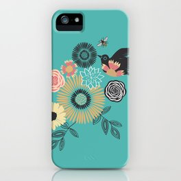 Birds & Bees - Turquoise iPhone Case