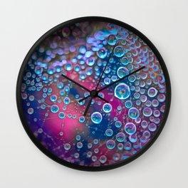 Magic iridescent colorful dew drops Wall Clock