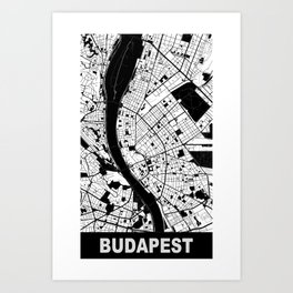 Budapest, Hungary, city map, White Art Print